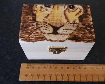 Lion stylised wooden treasure chest gift jewellery box - can be personalised on request.