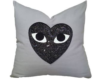 Designer Embroidered Pillow Cover Kdays Sequin Heart Face Gray Pillow Cover Decorative Kids Room Throw Pillow Handmade Kids Cushion Cover