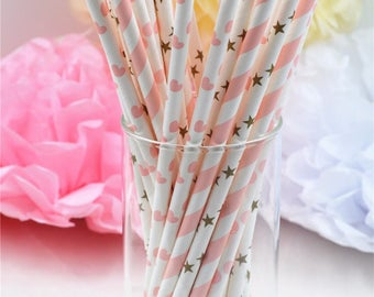 White Stripped Gold Paper Party Straws