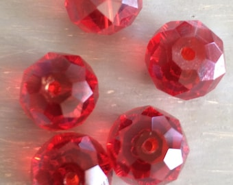 Abacus red faceted glass beads
