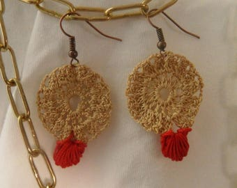 Handmade Crochet earrings with copper earwires
