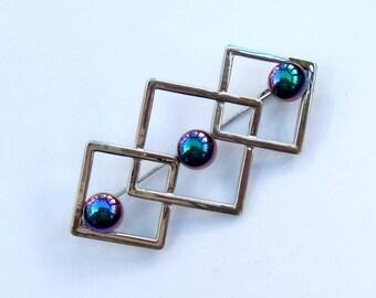 Rainbow haematite deco style brooch