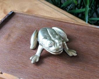 Vintage Brass Frog Trinket Box | Brass Knick Knacks | Brass Figurine | Brass Trinket Box | Frog Decor