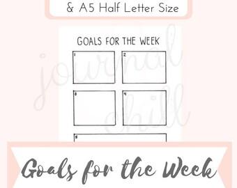 Goals for the Week: Bullet Journal Printable