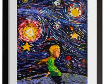 Vincent Van Gogh Starry Night Posters The Little Prince Le Petit Prince Little Prince Canvas Wall Art Nursery Decor Wall Decor A021