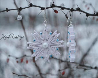 Snowflake earrings, winter earrings, Quilling Earrings Quilling Art, Paper Art, Blue and white, Dangle unique earrings, Gift for her