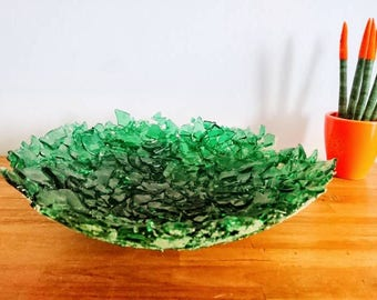 Recycled bowl of wine bottles-bowl-recycled glass-fruit bowl-Fusen