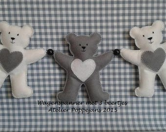 Car tensioner with bears by felt-pattern sheet incl. 3 rattle discs