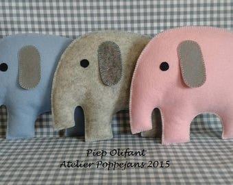 Tiny elephant of felt-pattern sheet incl. 1 beep
