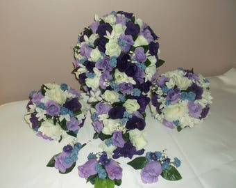 Pre Made Purple/Lilac/Ivory Cascading Wedding Bouquets