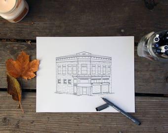 The Kitchen | Iconic Fort Collins | Hand drawn architecture portrait