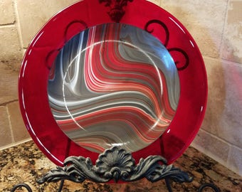 """11.5"""" Red Swirl Fused Glass Plate"""
