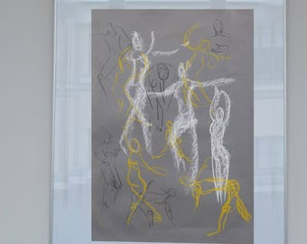Original dancer drawing in pencil and pastel chalk, dancing woman in the Studio, easy, sketch, art, passion