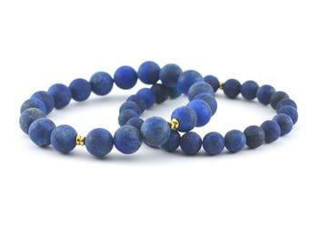 Lapis Lazuli Stack Bracelet Set, 8mm, 10mm, Matte Beads, Blue Gemstone Bracelet, Indigo Beads, Sapphire Blue Beads, Cobalt Blue, Royal Blue