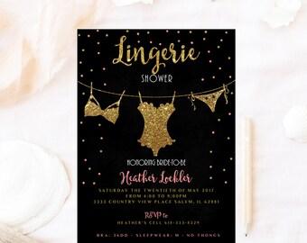 Lingerie Shower Invitation Glitter Corset Invitationbachelorette Bridal