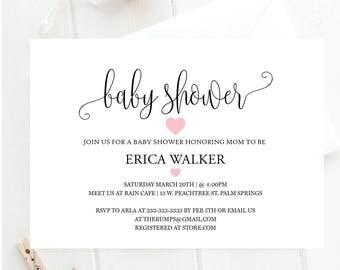 Baby shower invitation, modern heart baby shower invite, signature styled elegance, baby shower invitation, elegant baby shower invitation