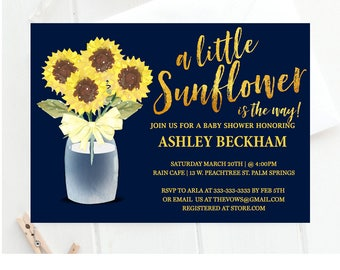 Sunflower baby shower invitation, sunshine baby shower invitation, little sunflower, cute, sunflowers, sun flowers, flowers,  summer