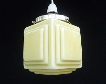art deco original stepped cube glass lamp shade and gallery