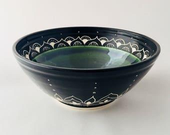 Beautiful Wheel Thrown Sgraffito Pottery Bolw