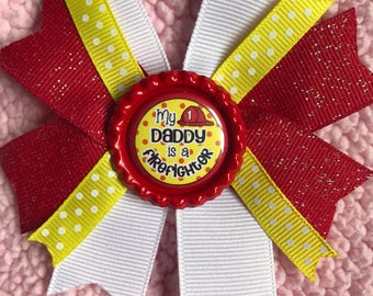 Firefighter daddy hair bow