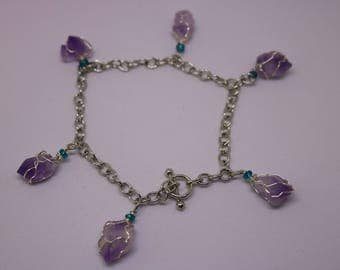 Amethyst bracelet/anklet with green glass beads
