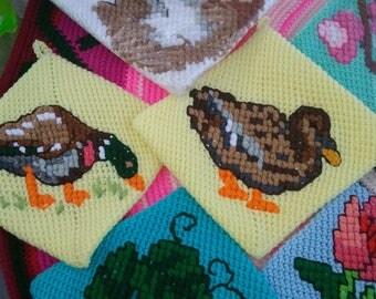 Mallard ducks potholder set