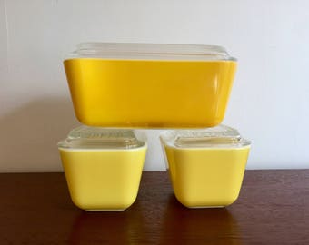 Set of 3 Yellow Pyrex Refrigerator Boxes
