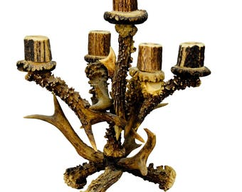 vintage lodge style design five armed antler candleholder