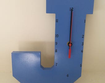 "Wooden Letter ""J"" Clock   Kids Clock   Wall clock   Nursery Clock"