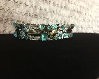 Aqua & antique brass flower and glass bracelet