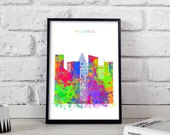 Houston print Houston Watercolor decor Houston poster Houston Skyline Watercolor Texas poster Houston art Gift poster