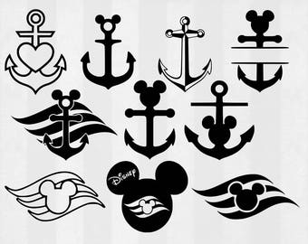 Disney Cruise SVG Bundle, Cruise clipart, Anchor cut files, svg files for silhouette, files for cricut, svg, dxf, eps, cuttable design
