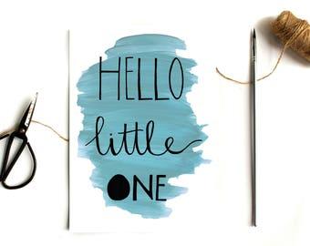 Hello little one nursery print - nursery art decor - baby room wall art - typographic print - new baby gift