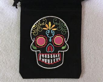 "Sugar Skull 4.25 by 5.25"" Black velvet drawstring, pouch, Day of The Dead. Free Shipping Included!!"