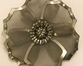 Vintage Metal and Mesh Flower Brooch Marked BED