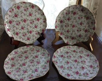 A beautiful vintage set of 4 Tea Plates by LEFTON CHINA