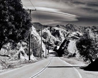 Black and white print, canyon road