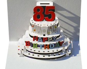 Pop Up Laser cut card - 85th Birthday  POP92