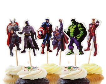 12 The Avengers Cupcake Toppers, 12 count Cake Toppers, Superheroes, Captain America, Hulk, Iron Man, Thor, Batman, Superman Cake Toppers