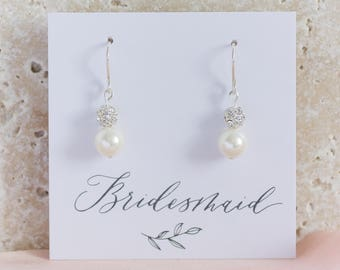 pearl bridal earrings, pearl and crystal earrings, bridesmaid pearl earrings, bridal jewellery, bridesmaid gift, earrings for wedding