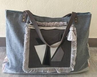 Large grey linen tote bag pattern