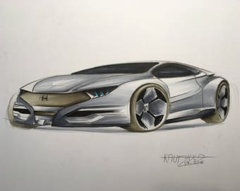 Honda car drawing - Copic markers