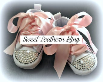 White & Soft Pink Baby Bling Converse Crib Shoes