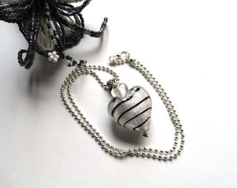 Handmade lampwork Murano - gift idea for woman style pendant necklace black and white heart