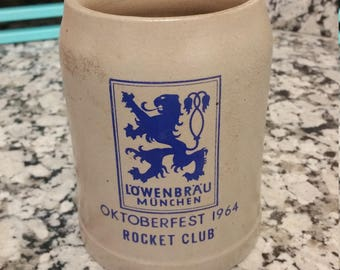 Vintage 1964 German Oktoberfest Rocket Club Drinking Beer Coffee Mug
