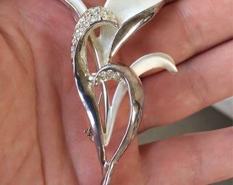 Calla Lily silver tone and rhinestone pin
