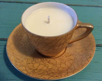 Toasted Coconut Scented Soy Candle inFine China Mini Tea Cup