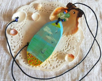 Hand painted Seascape Pendant natural wood art Necklace original painting wood slice art artisan wood jewelry sailboat necklace eco gift