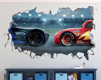Lightning Stickers Etsy - Lightning mcqueen custom vinyl decals for car