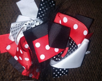 5 Inch OTT feather bow red/black/white/minnie mouse/mickey/alligator clip